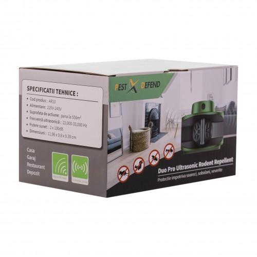 Aparat anti rozatoare,anti soareci, anti sobolani cu ultrasunete si pulsuri ultrasonice pentru alungarea rozatoarelor Duo Pro Ultrasonic Pest Repellent